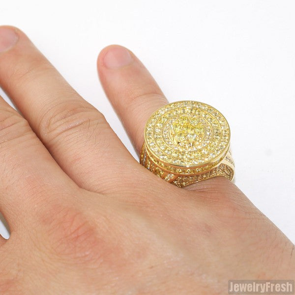 Gold Canary Jumbo CZ Custom Medallion Ring