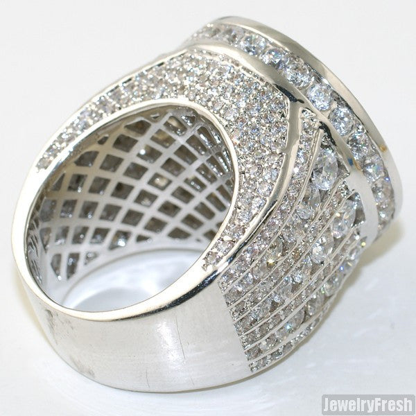 Sterling Silver Jumbo CZ Custom Medallion Ring