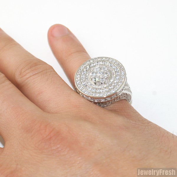 Silver Jumbo CZ Custom Medallion Ring