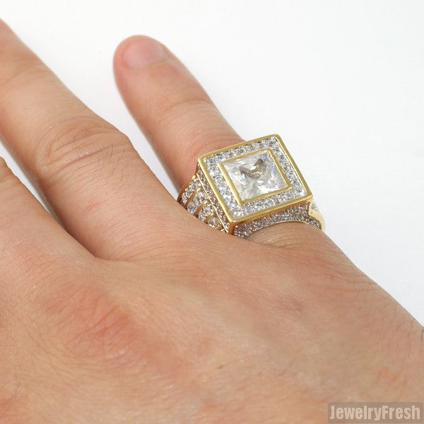 Gold Large Princess Cut Lavish CZ Ring
