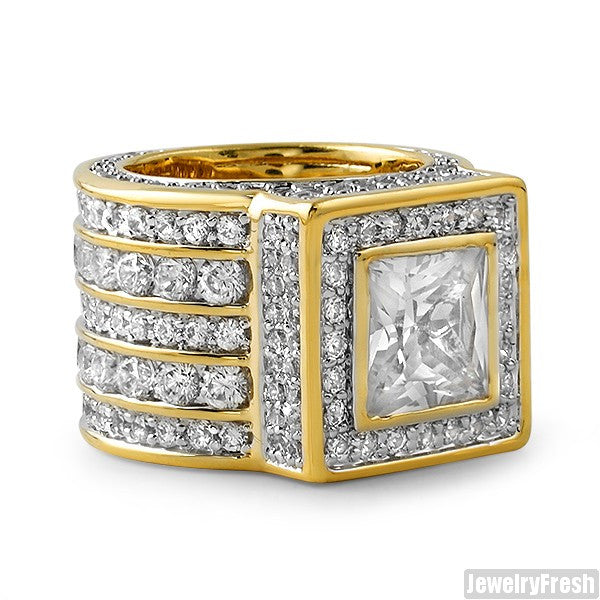 Gold 925 Silver Princess Cut Lavish CZ Ring