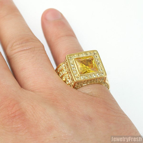 Canary Yellow Large Princess Cut Lavish CZ Ring