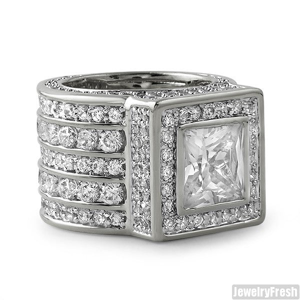 Silver Large Princess Cut Lavish CZ Ring