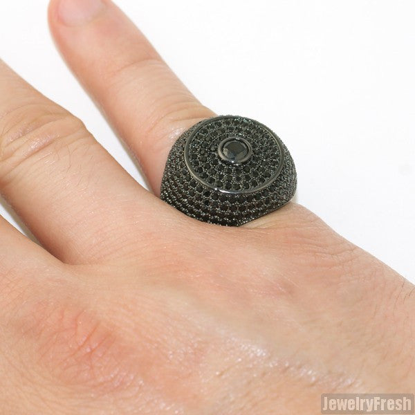 Black Full Iced Lab Made Jumbo Round Ring