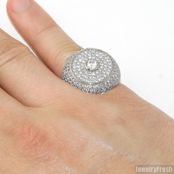 Silver Full Iced Lab Made Jumbo Round Ring