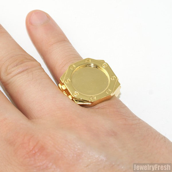 Jumbo AP Style Ring 14K Gold Finish