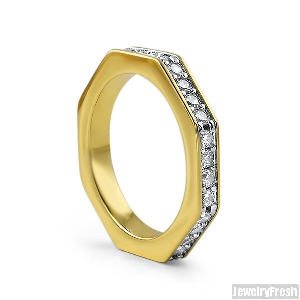 14K Gold Finish Skinny Octagon CZ Ring