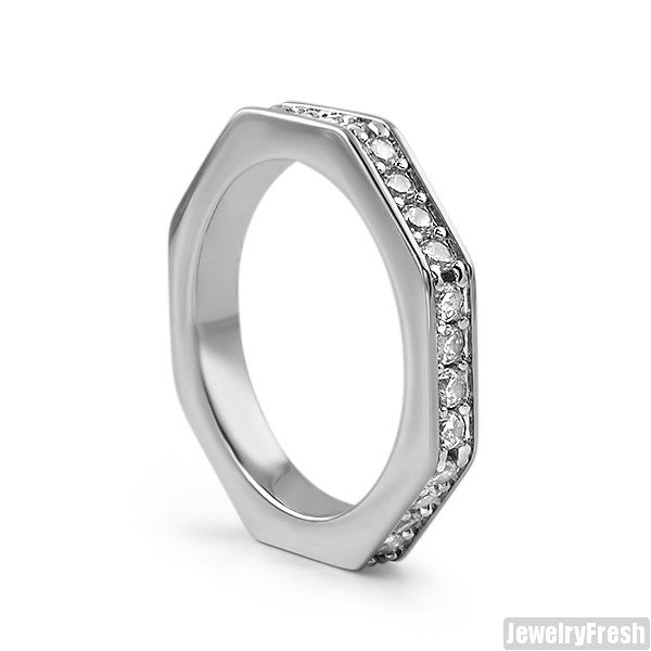 Silver Finish Skinny Octagon CZ Ring