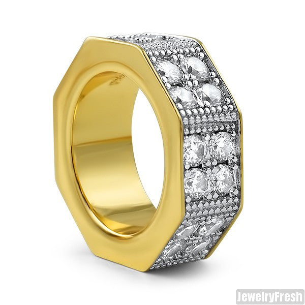 14K Finish Thick 2 Row Octagon CZ Ring