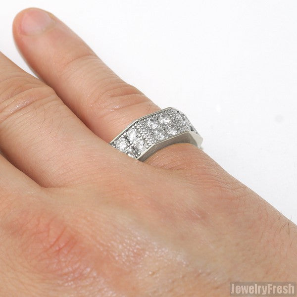 Silver Finish Thick 2 Row Octagon CZ Ring