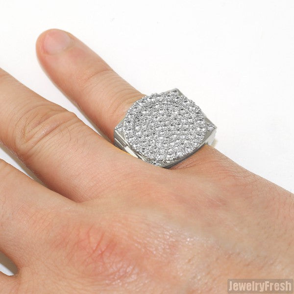 Silver Finish Iced Out Executive Ring