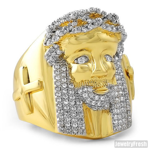 18K Gold Plated Large Jesus Face Ring