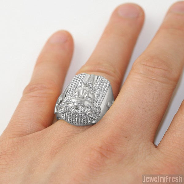 Rhodium Finish Large Jesus Face Ring