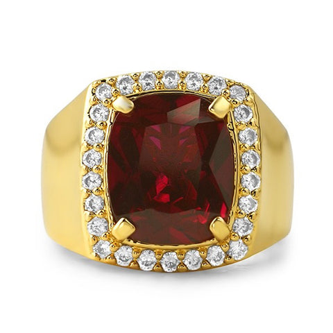18K Gold Finish Synthetic Ruby Mens Ring