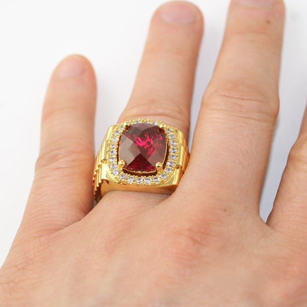 Gold Finish Synthetic Ruby Executive Ring