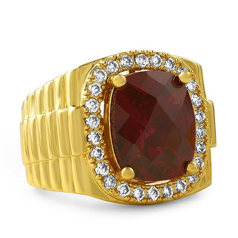 Gold Finish Synthetic Ruby Presidential Ring