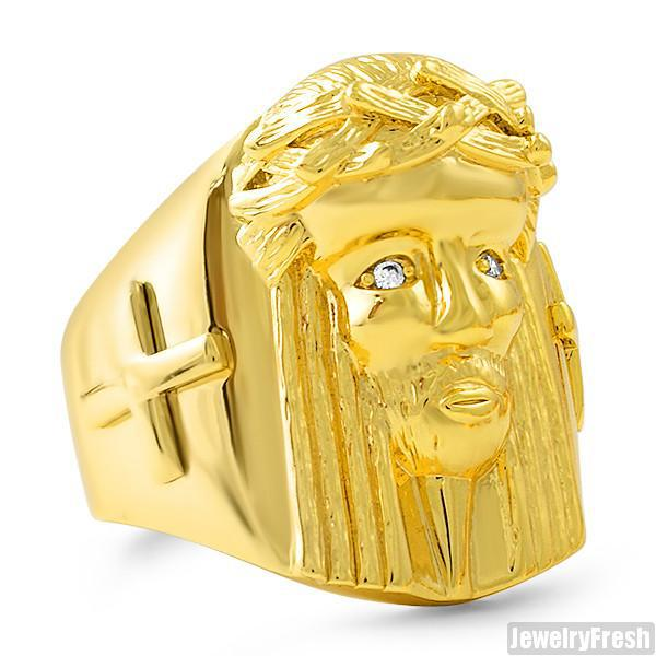 Gold Plated Large Jesus Face Ring