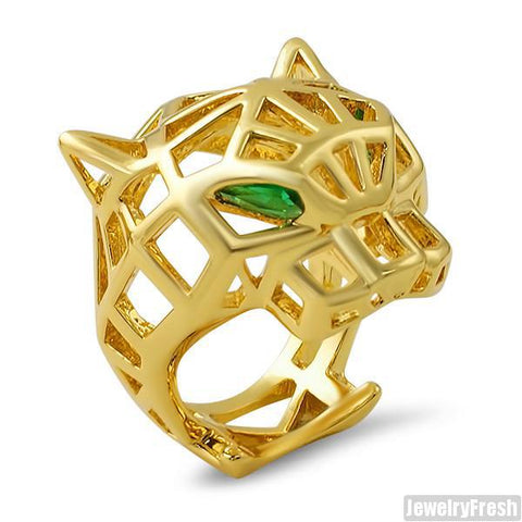 Gold 3D Hollow Tiger Emerald Ring