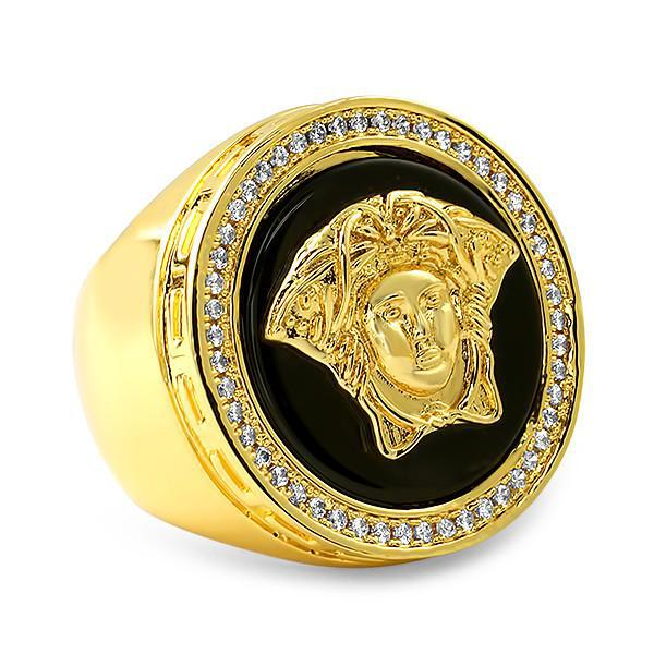 Black Onyx Gold Vintage Medusa CZ Ring