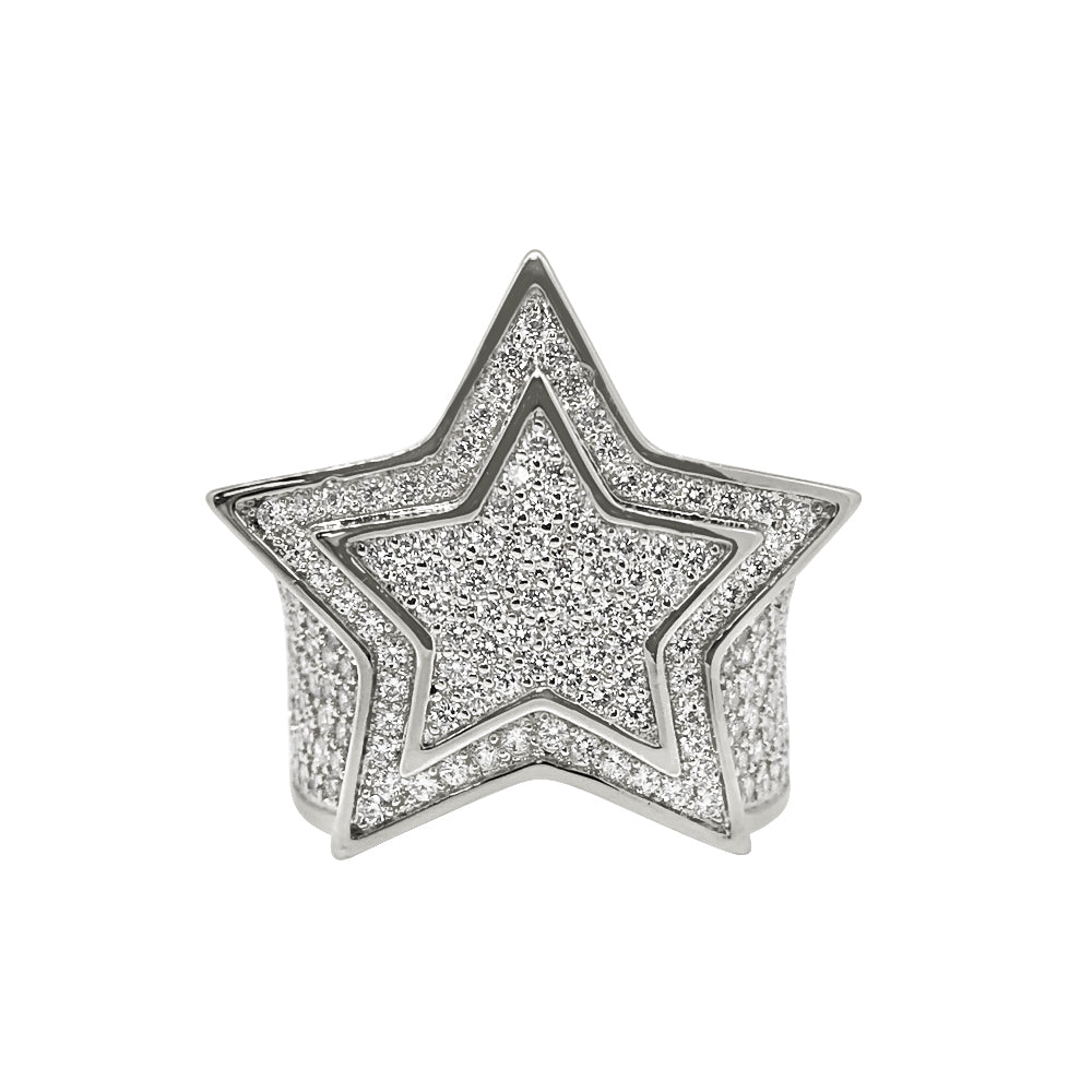 White Gold CZ Fully Iced Out Large Star Ring