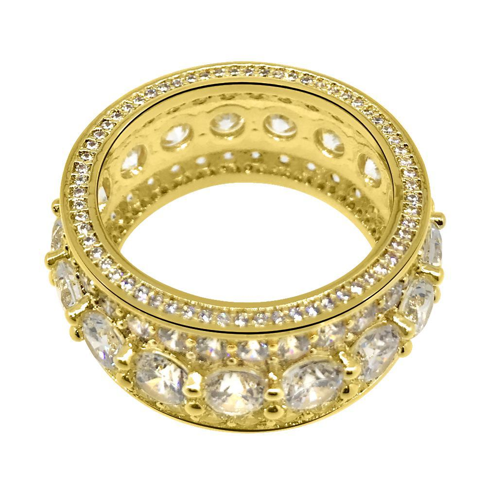 18K Gold Big Rocks CZ Eternity Ring