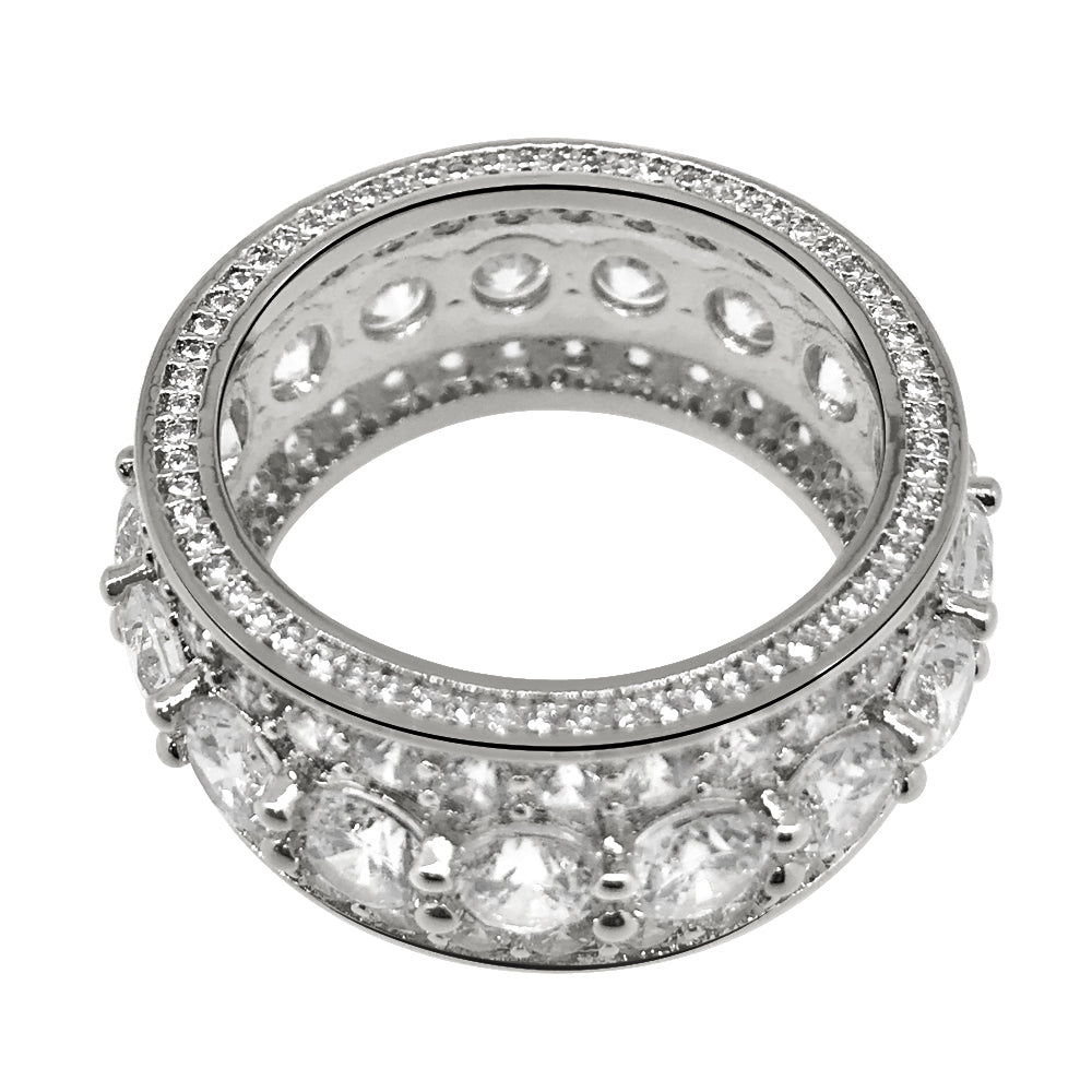 925 Sterling Silver Big Rocks CZ Eternity Ring