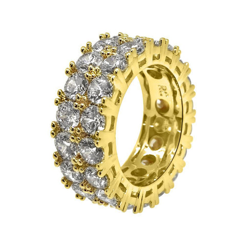 18K Gold 2 Row CZ Eternity Band