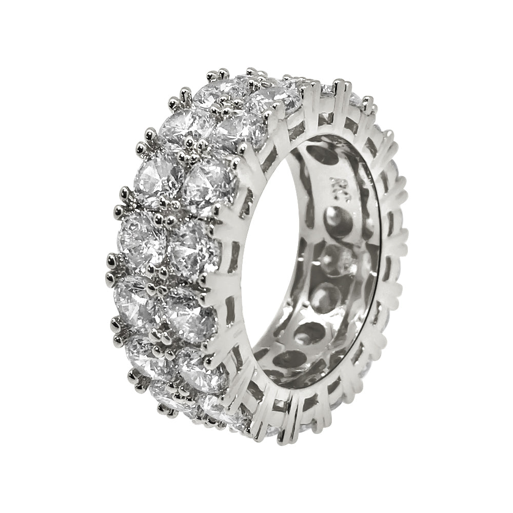 Sterling Silver 2 Row CZ Eternity Band