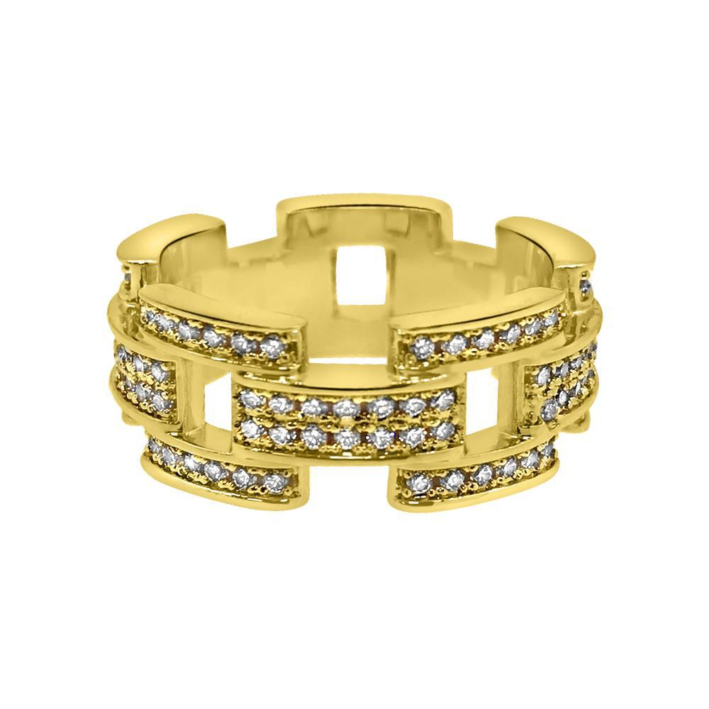 18K Gold Designer Iced Out CZ Ring