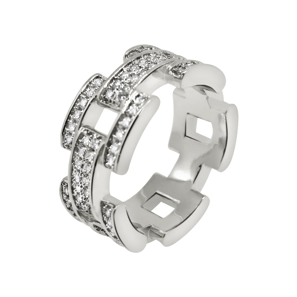 White Gold Designer Iced Out CZ Ring