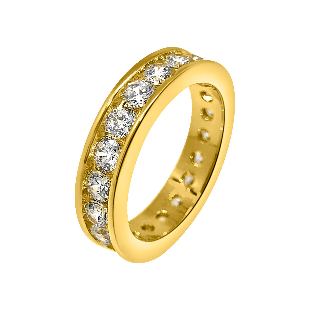 14K Gold Finish Channel Set CZ Band