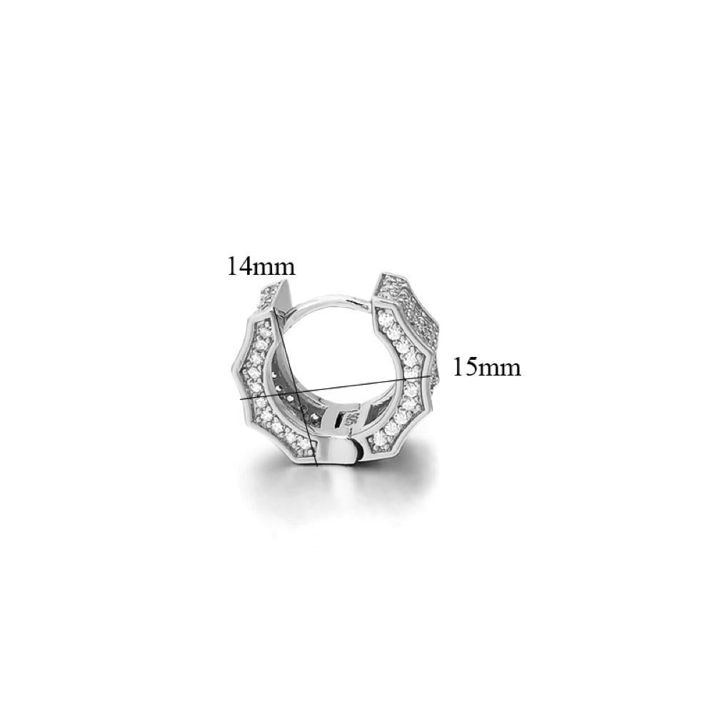 925 Silver Wave Design Iced Out Hoop Earrings