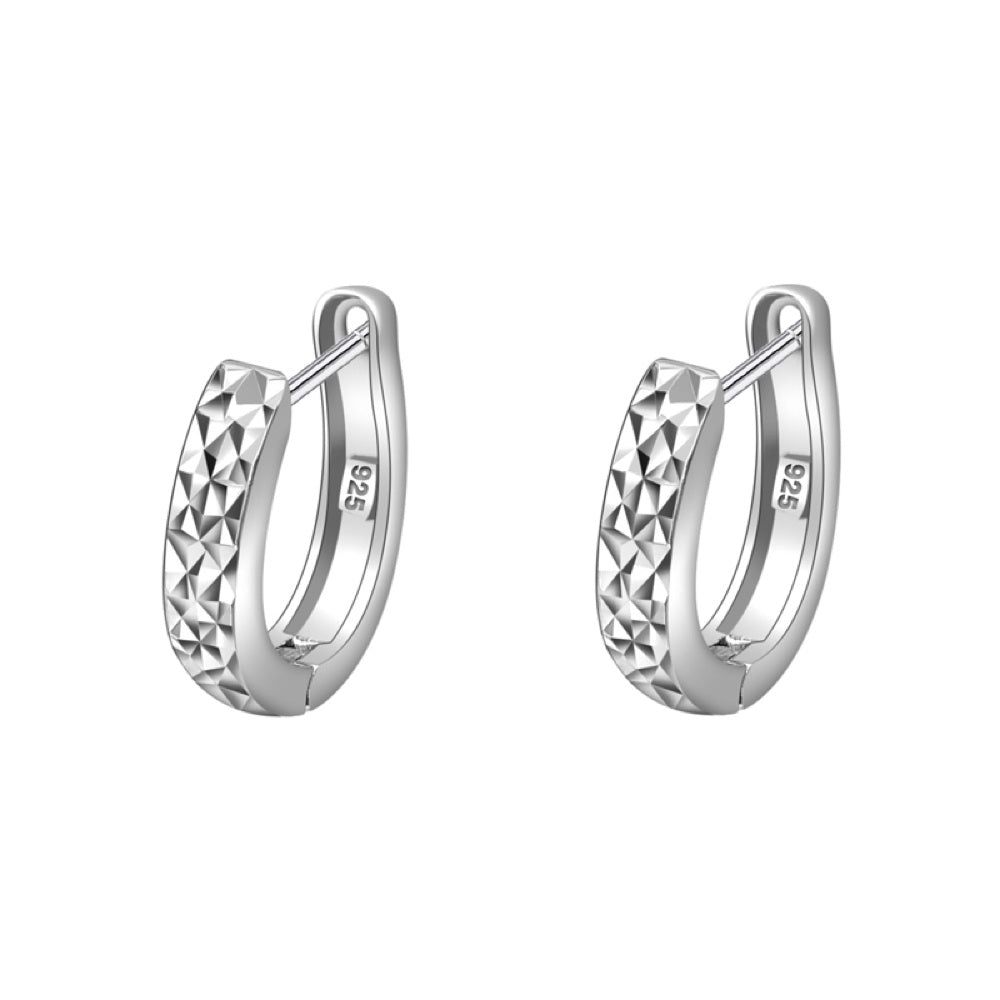 925 Silver Diamond Cut Polished Hoop Earrings