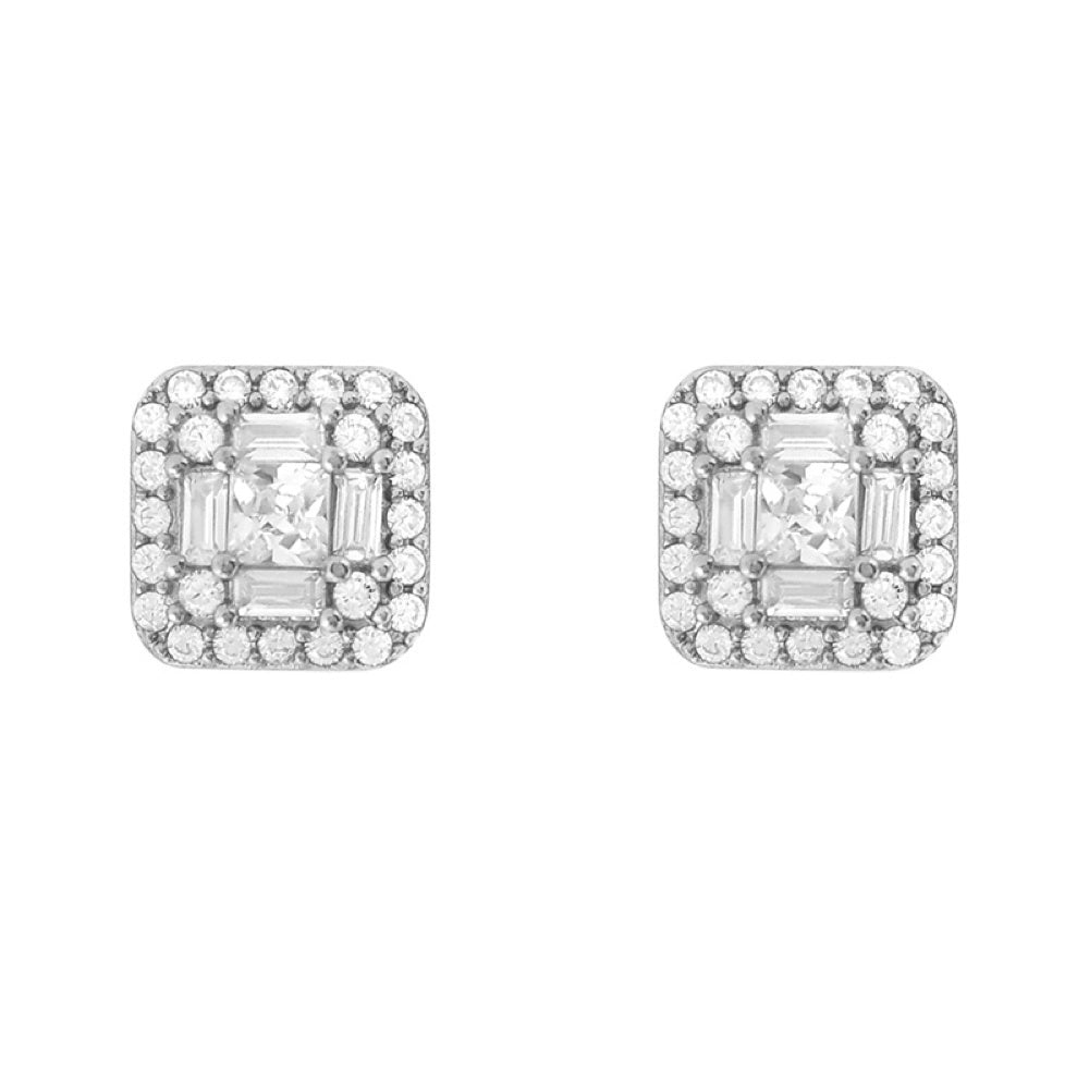 Sterling Silver Baguette Cluster CZ Earrings