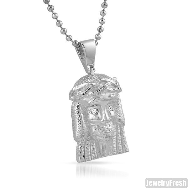 925 Sterling Silver Iced Eyes Micro Jesus Piece