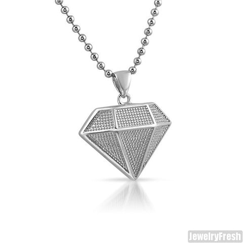 Sterling Silver Micro Diamond Shape Pendant