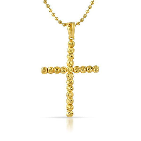Gold 925 Sterling Gold Moon Cut Cross