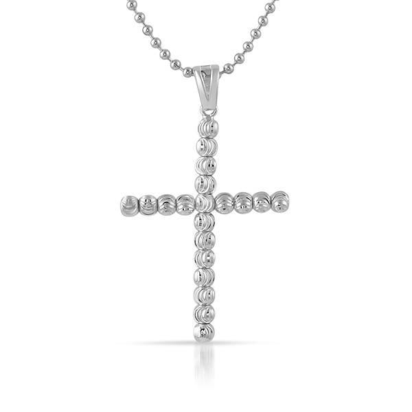 925 Sterling Silver Gold Moon Cut Cross