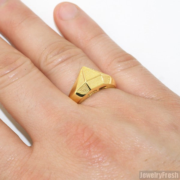 Gold Dipped Silver Diamond Shape Ring