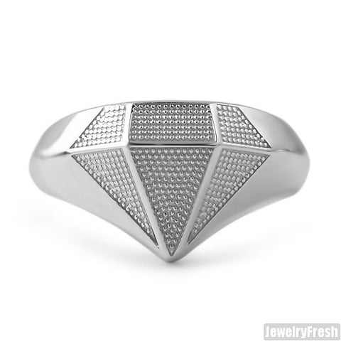 925 Sterling Silver Diamond Shape Ring