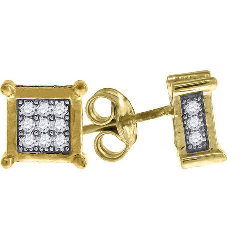 10K Solid Gold 3D Cube Earrings