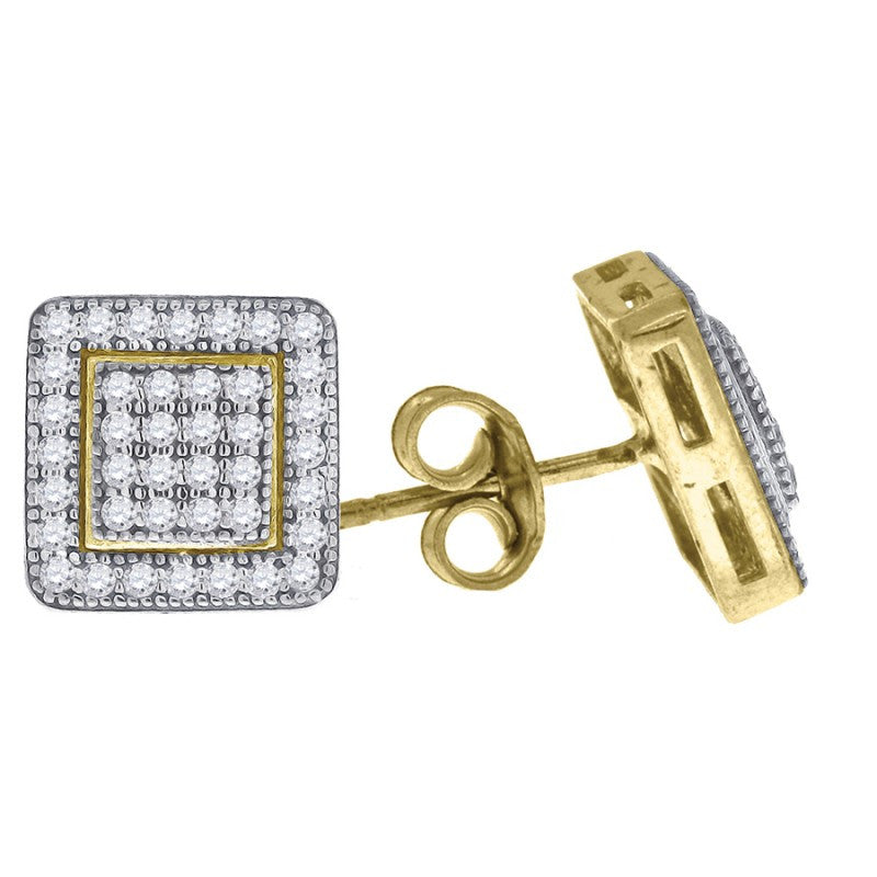 10K Solid Gold Micropave Square Earrings