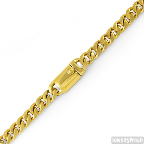 9mm 14K Gold IP Luxury Miami Cuban Bracelet