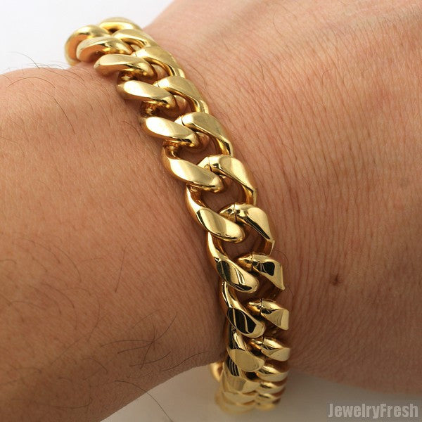 13mm 14K Gold IP Luxury Miami Cuban Bracelet