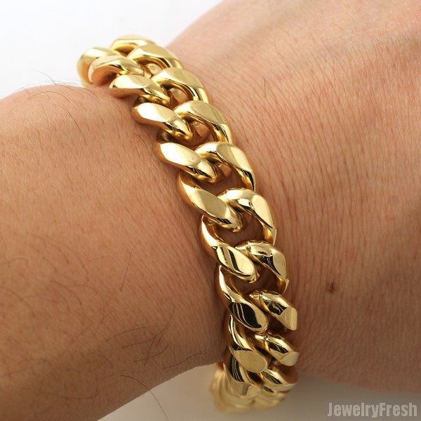 15mm 14K Gold IP Luxury Miami Cuban Bracelet