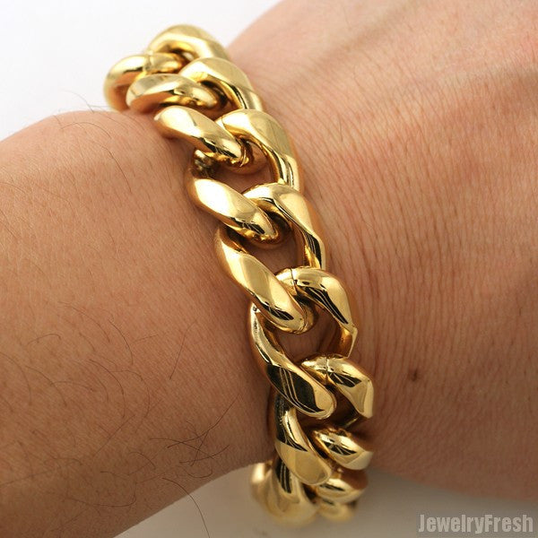 18mm 14K Gold IP Luxury Miami Cuban Bracelet