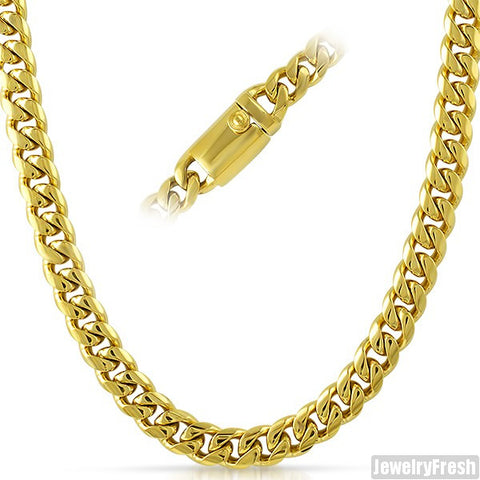 9mm 14K Gold IP Luxury Miami Cuban Chain