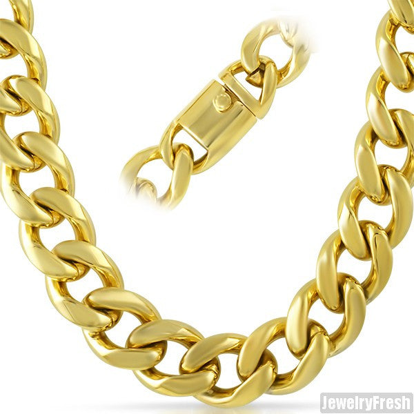 18mm 14K Gold IP Luxury Miami Cuban Chain