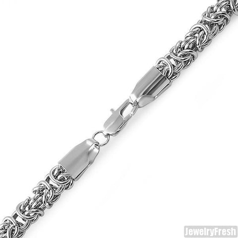 6mm Stainless Steel Thick Byzantine Bracelet