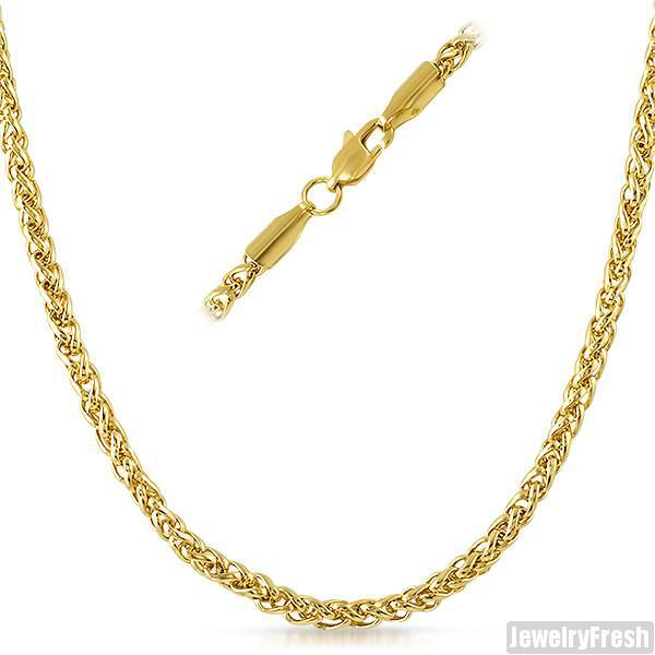 4mm 14K Gold IP Wheat Chain Necklace